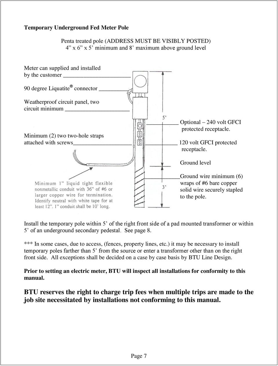 Service Entrance Requirements Manual Pdf Conduit Wiring Guide 120 Volt Gfci Protected Receptacle Ground Level Wire Minimum 6 Wraps Of