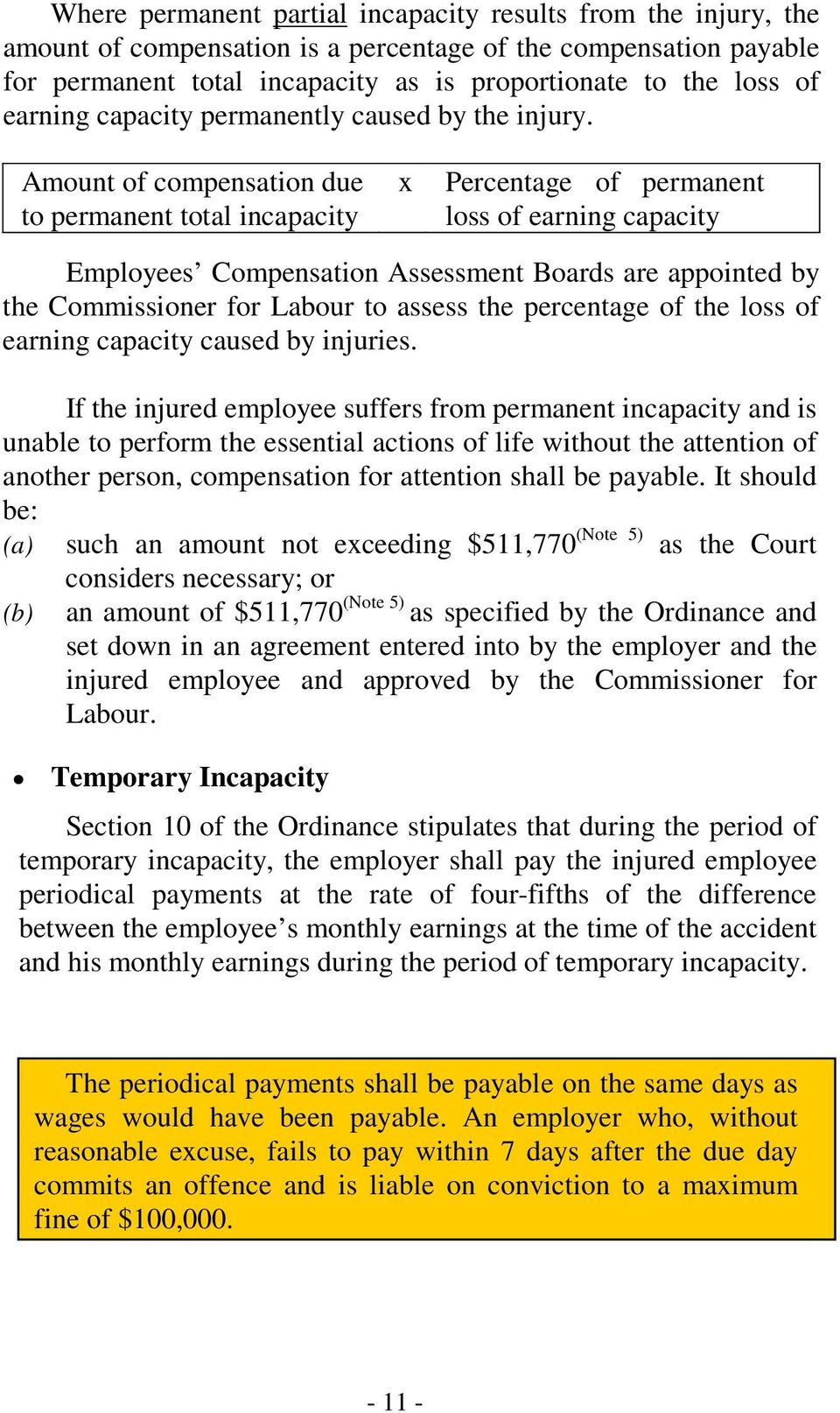 Amount of compensation due to permanent total incapacity x Percentage of permanent loss of earning capacity Employees Compensation Assessment Boards are appointed by the Commissioner for Labour to