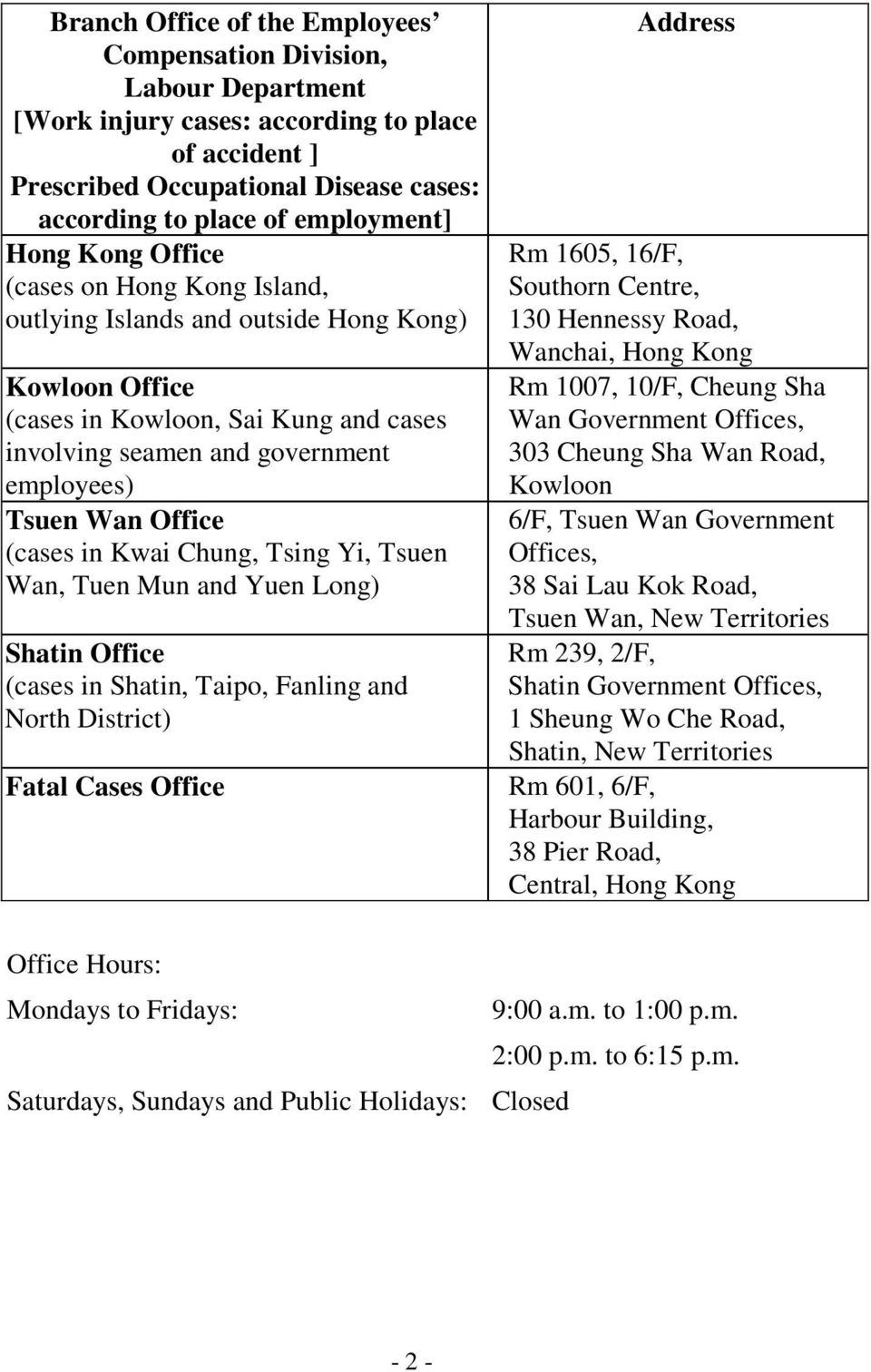 (cases in Kwai Chung, Tsing Yi, Tsuen Wan, Tuen Mun and Yuen Long) Shatin Office (cases in Shatin, Taipo, Fanling and North District) Fatal Cases Office Address Rm 1605, 16/F, Southorn Centre, 130