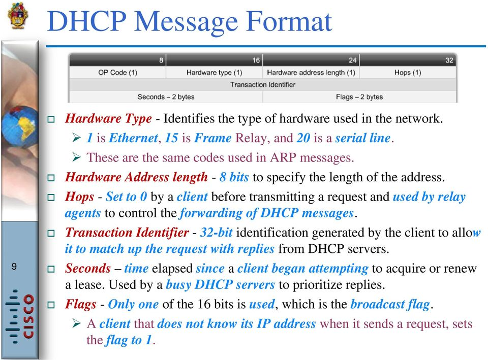 Transaction Identifier - 32-bit identification generated by the client to allow it to match up the request with replies from DHCP servers.