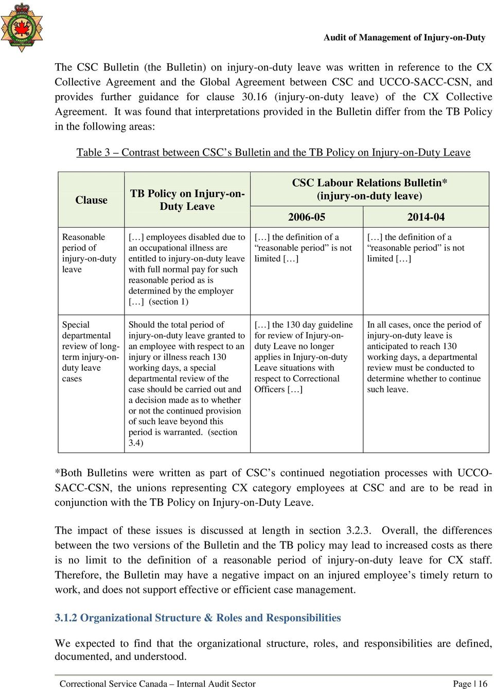It was found that interpretations provided in the Bulletin differ from the TB Policy in the following areas: Table 3 Contrast between CSC s Bulletin and the TB Policy on Injury-on-Duty Leave Clause