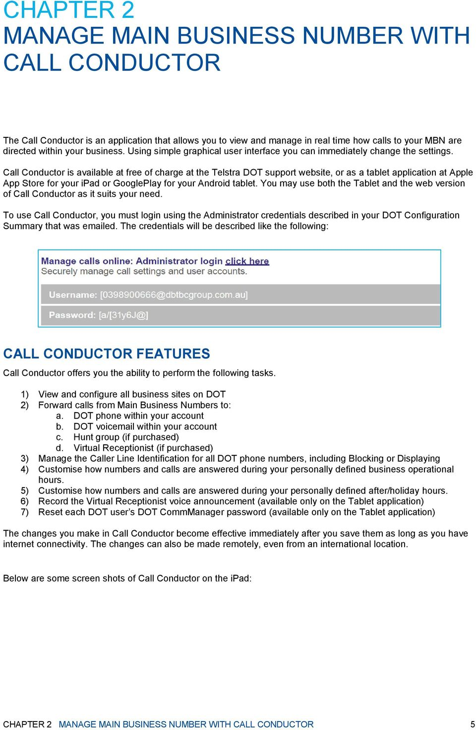 MANAGE YOUR MAIN BUSINESS NUMBER WITH CALL CONDUCTOR - PDF