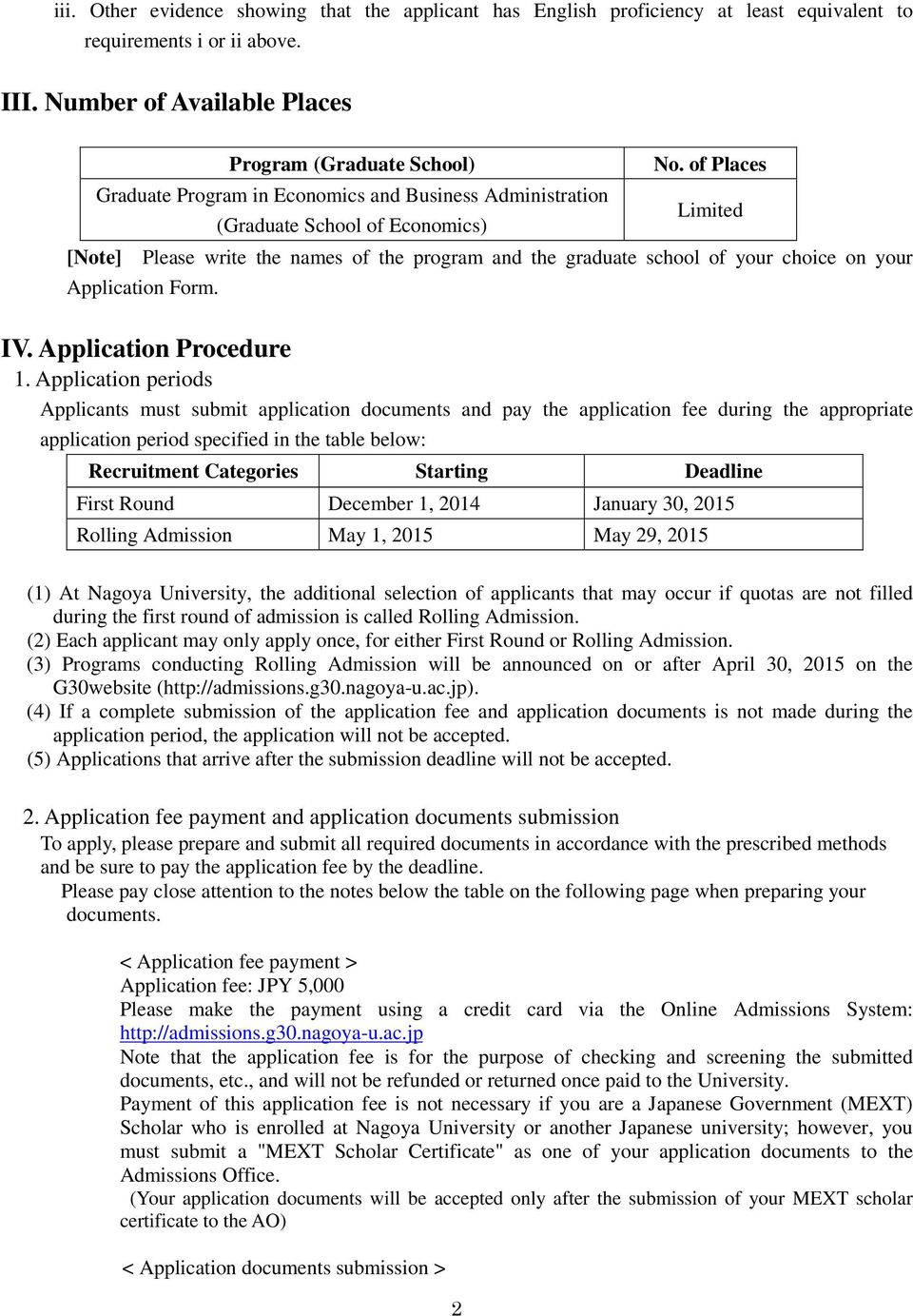 Application Form. IV. Application Procedure 1.