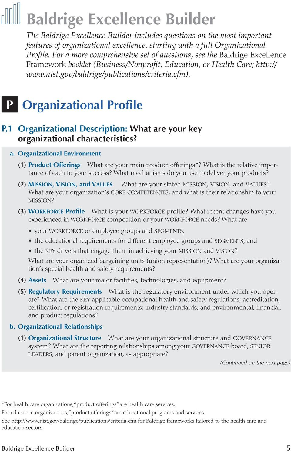 P Organizational Profile P.1 Organizational Description: What are your key organizational characteristics? a. Organizational Environment (1) Product Offerings What are your main product offerings*?
