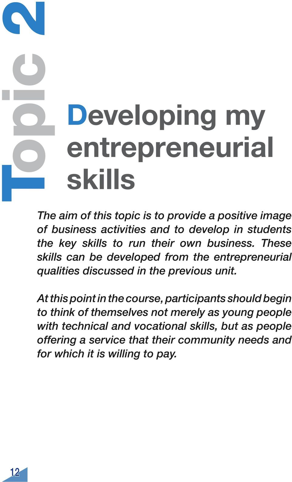 These skills can be developed from the entrepreneurial qualities discussed in the previous unit.