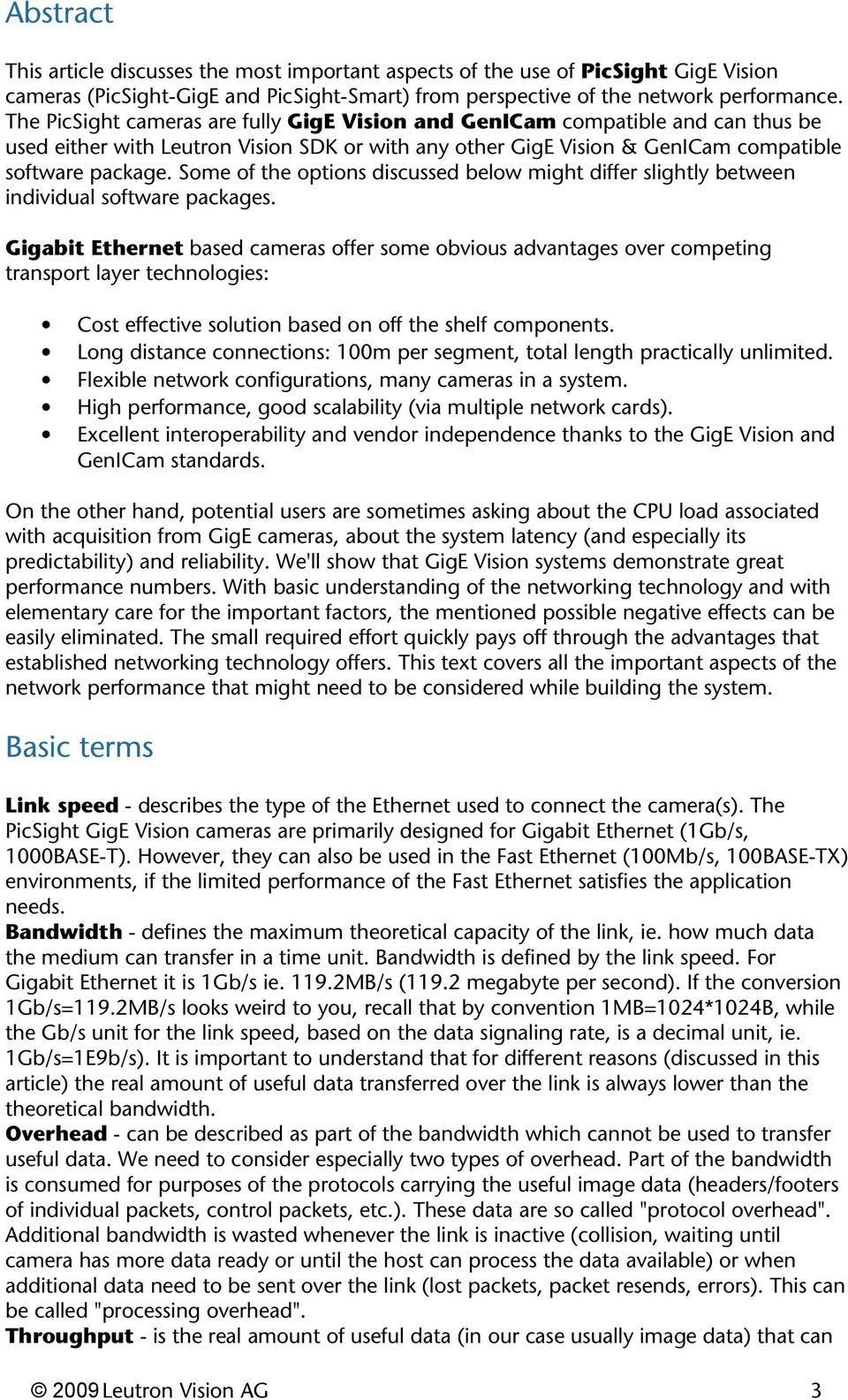GigE Vision cameras and network performance - PDF