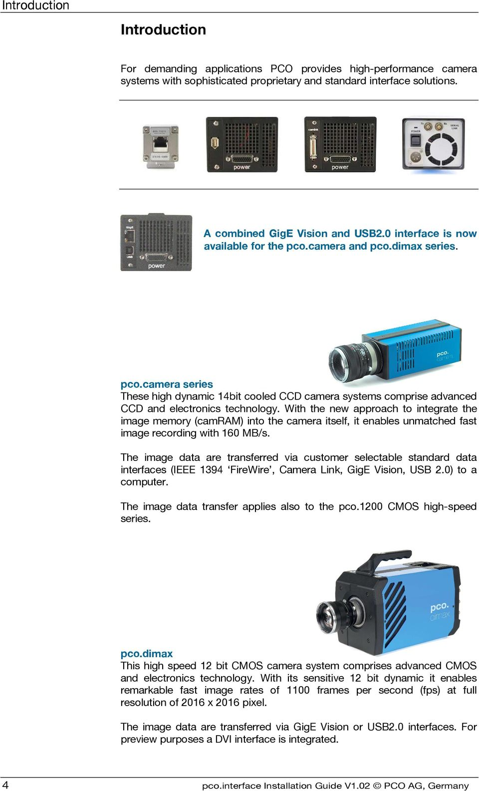 pco interface GigE & USB Installation Guide - PDF