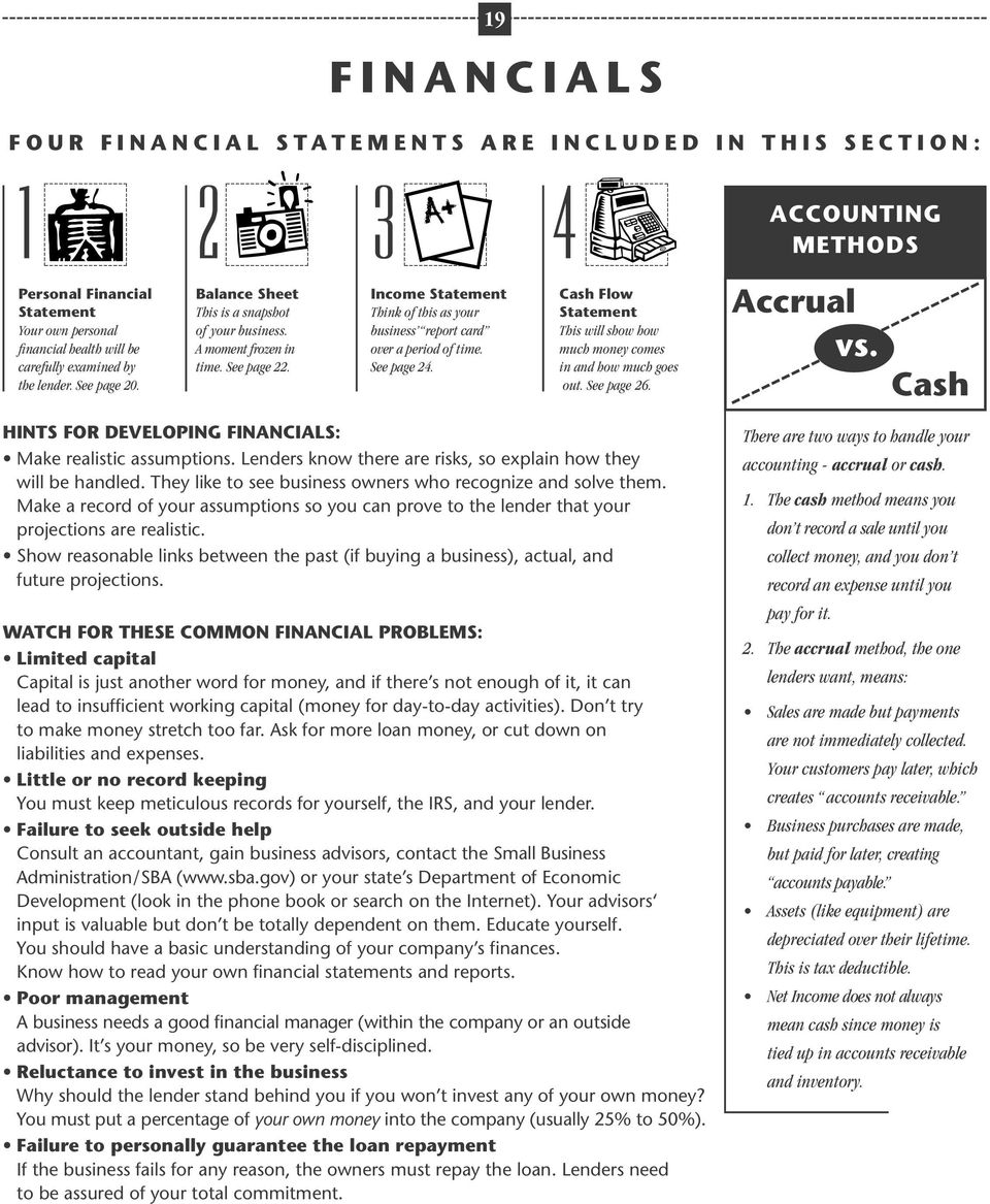 Income Statement Think of this as your business report card over a period of time. See page 24. Cash Flow Statement This will show how much money comes in and how much goes out. See page 26.