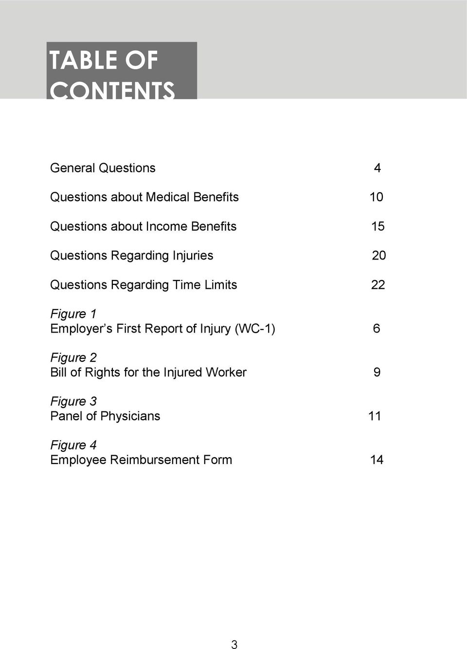 Limits 22 Figure 1 Employer s First Report of Injury (WC-1) 6 Figure 2 Bill of Rights