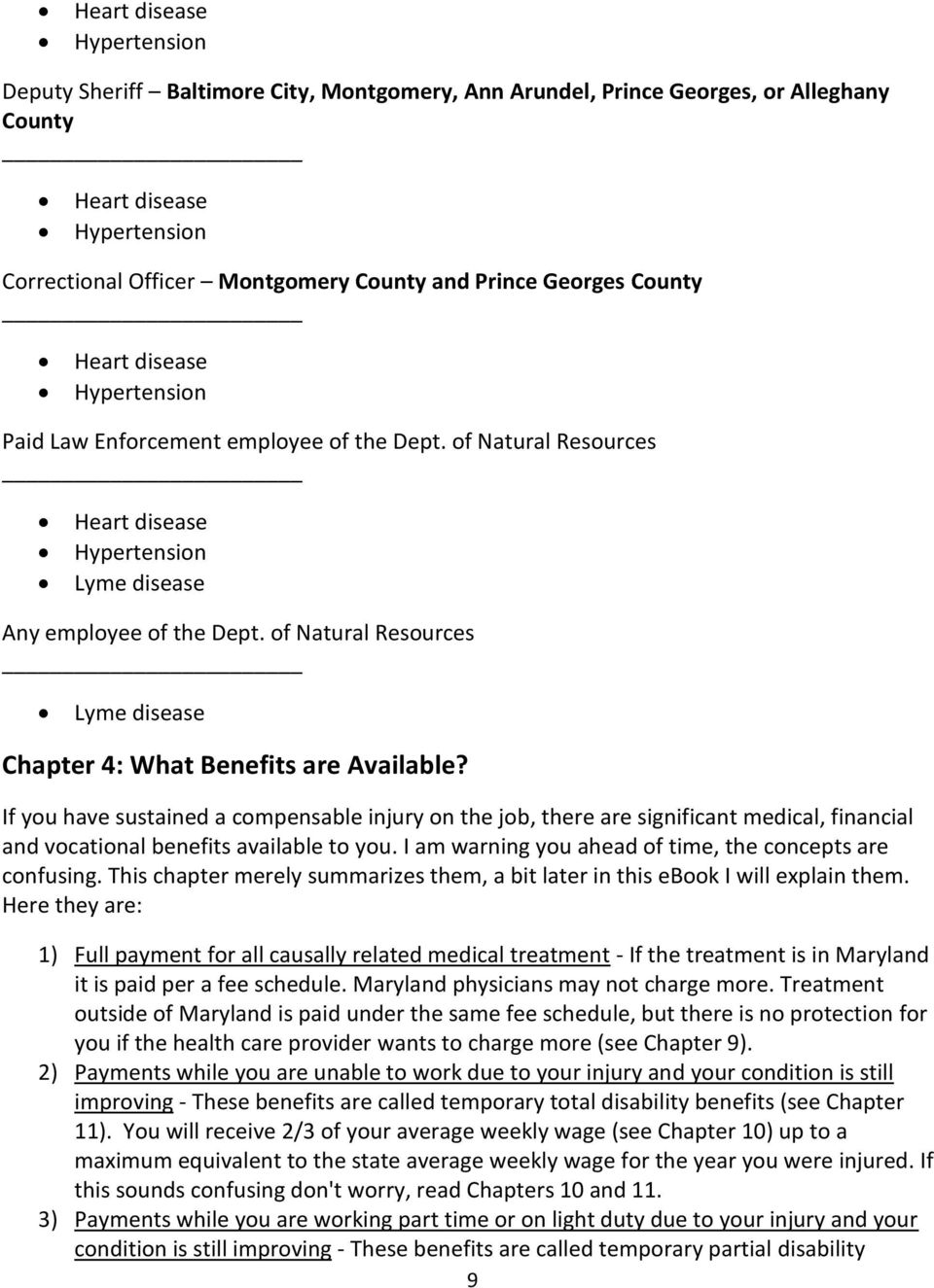 of Natural Resources Lyme disease Chapter 4: What Benefits are Available?