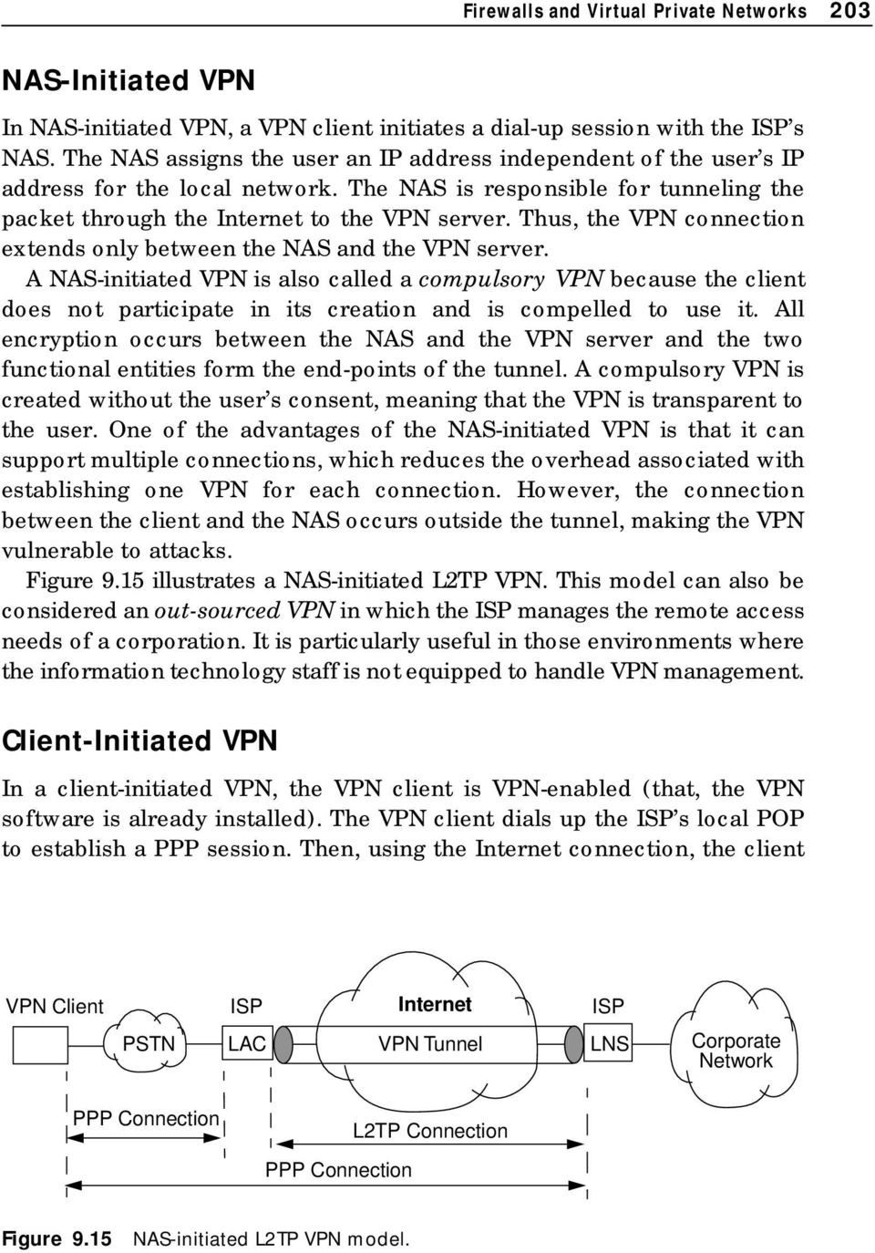 Thus, the VPN connection extends only between the NAS and the VPN server.