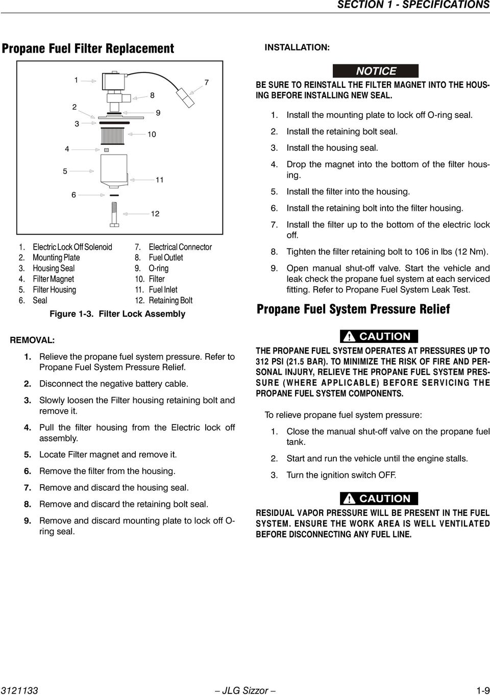 Service maintenance manual models 3394rt 4394rt prior to sn install the retaining bolt into the filter housing 1 electric lock off solenoid 2 fandeluxe Gallery