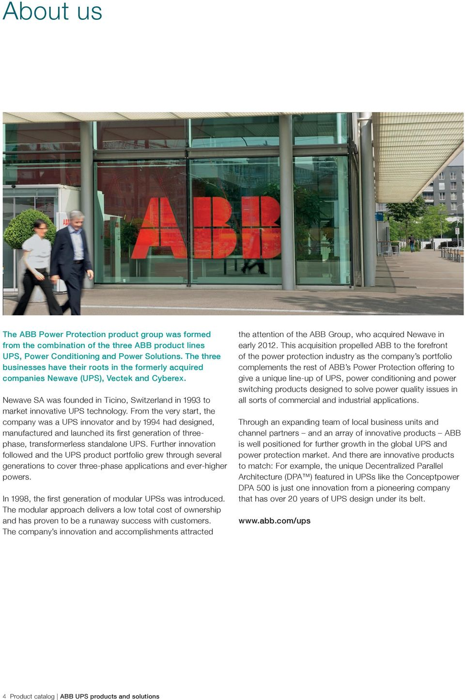 Product catalog ABB UPS products and solutions Power protection for