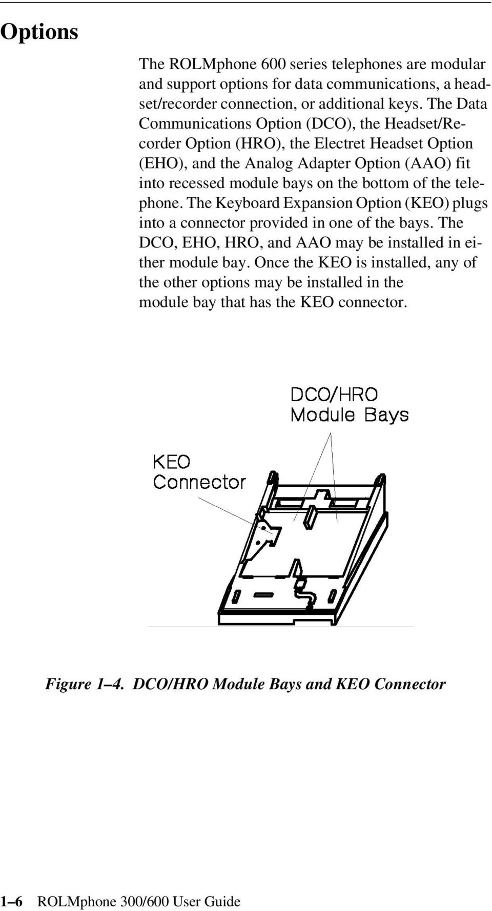 the bottom of the telephone. The Keyboard Expansion Option (KEO) plugs into  a
