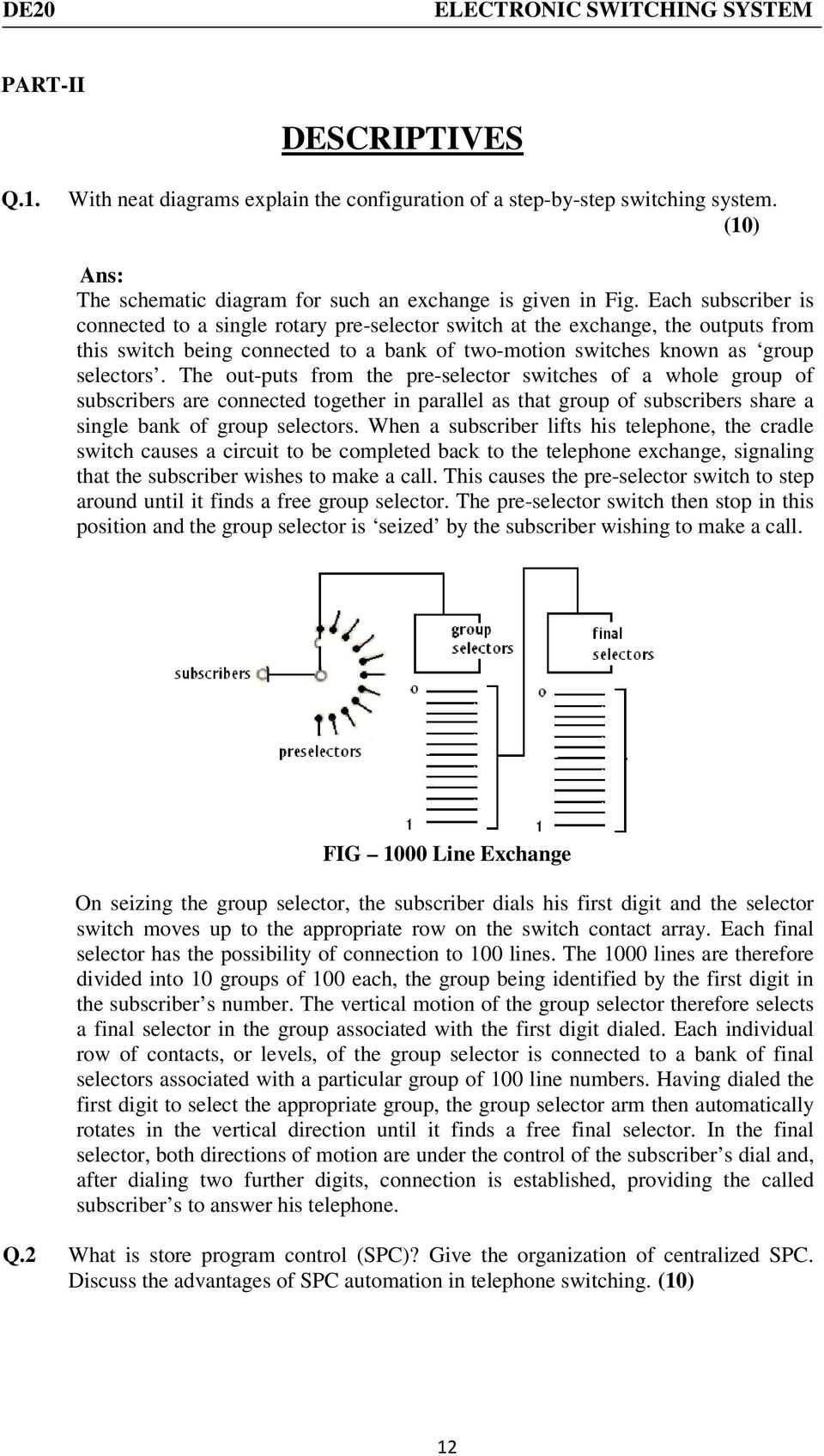Typical Questions Answers Pdf Fig 2nd Simple Telephone Hybrid Circuit The Out Puts From Pre Selector Switches Of A Whole Group Subscribers