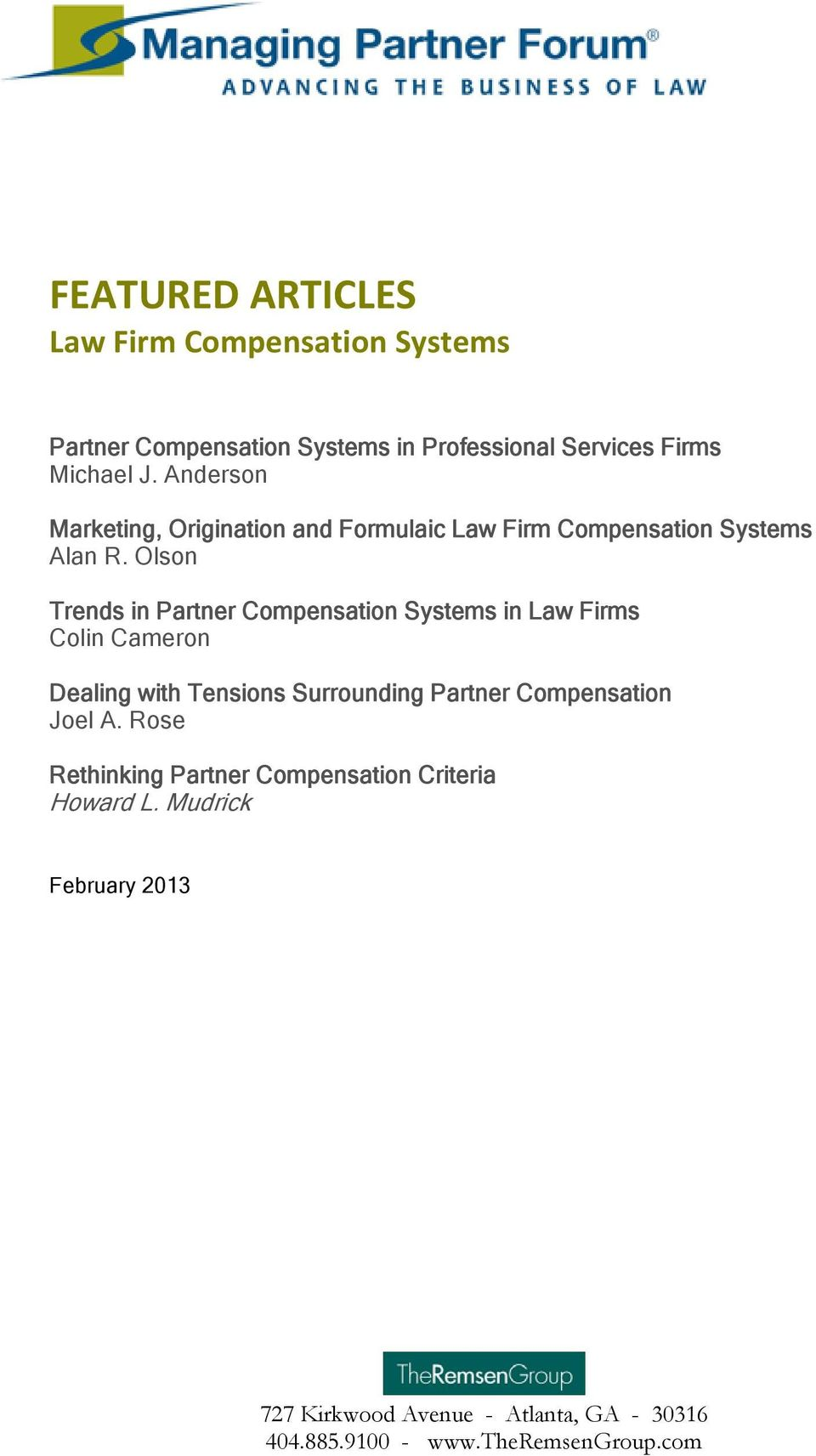 FEATURED ARTICLES Law Firm Compensation Systems - PDF