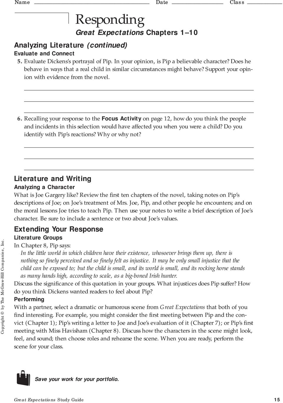 Great Expectations Study Guide 15. Recalling your response to the Focus  Activity on page 12, how do you think the