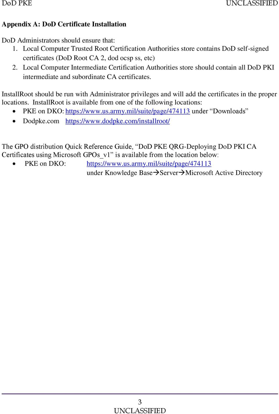 Dod Root Certificate Chaining Problem Pdf