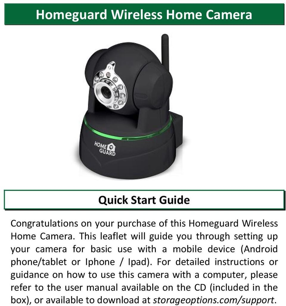 Homeguard Wireless Home Camera Quick Start Guide - PDF