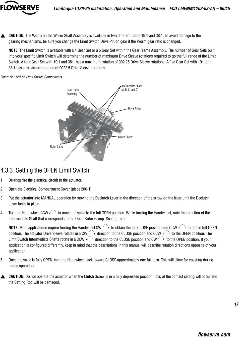User Instructions Limitorque L Actuator Installation Operation Held Open Limit Switch Wiring Diagram For A Nc Note The Is Available With 4 Gear Set Or 5
