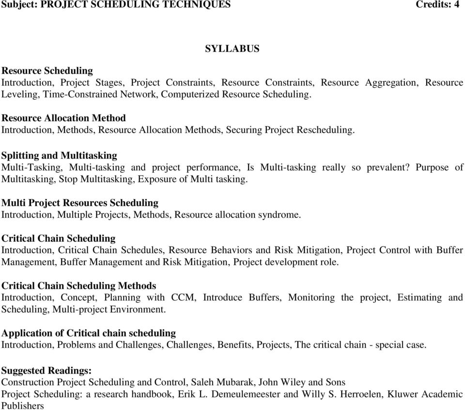 Project Scheduling Techniques - PDF