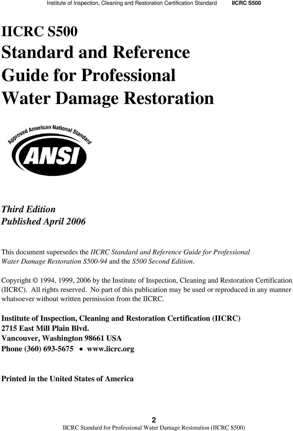 Iicrc S500 Standard And Reference Guide For Professional Water