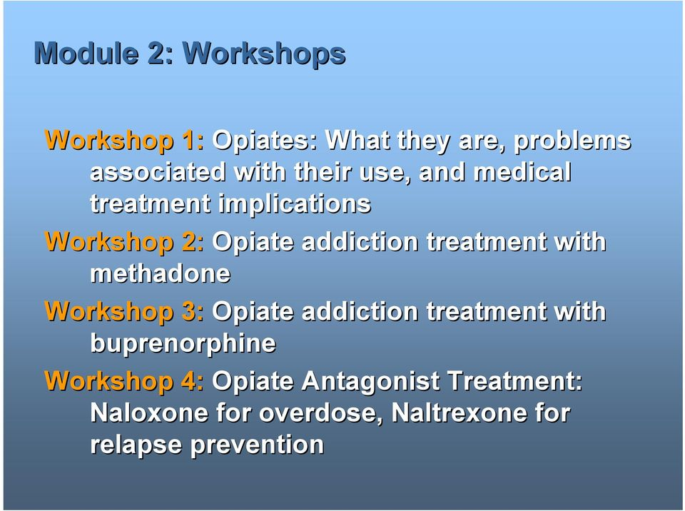 treatment with methadone Workshop 3: Opiate addiction treatment with buprenorphine