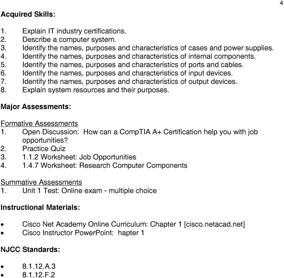 CISCO INFORMATION TECHNOLOGY [IT] ESSENTIALS GRADES THE EWING PUBLIC