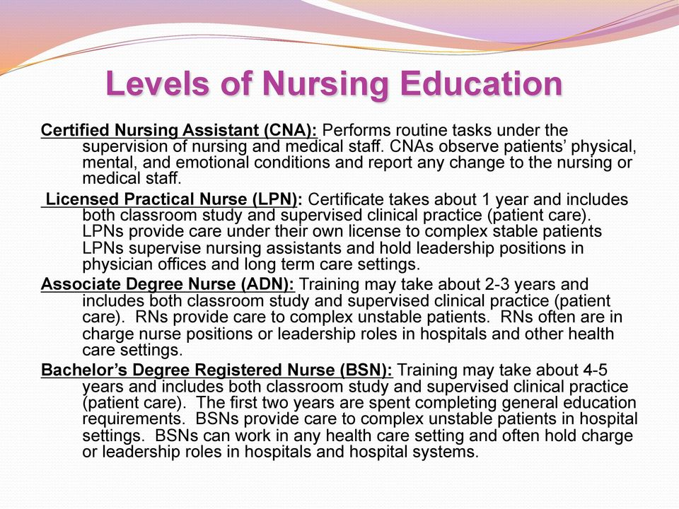 Licensed Practical Nurse (LPN): Certificate takes about 1 year and includes both classroom study and supervised clinical practice (patient care).