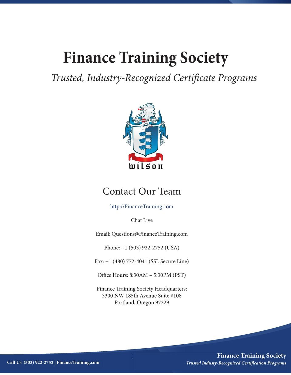 Finance Training Society Trusted Industry Recognized Certificate