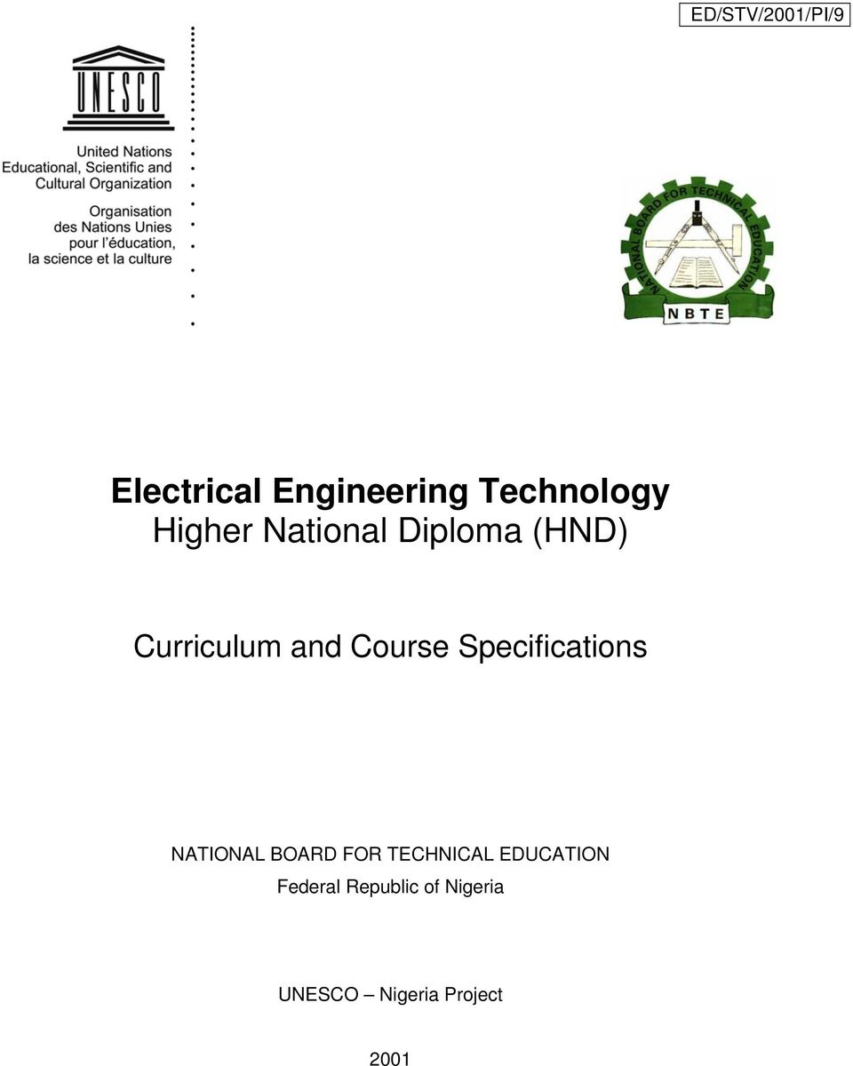 Electrical Engineering Technology Higher National Diploma Hnd Pdf Training Simulation For Residential Wiring 4th Edition Software Transcription