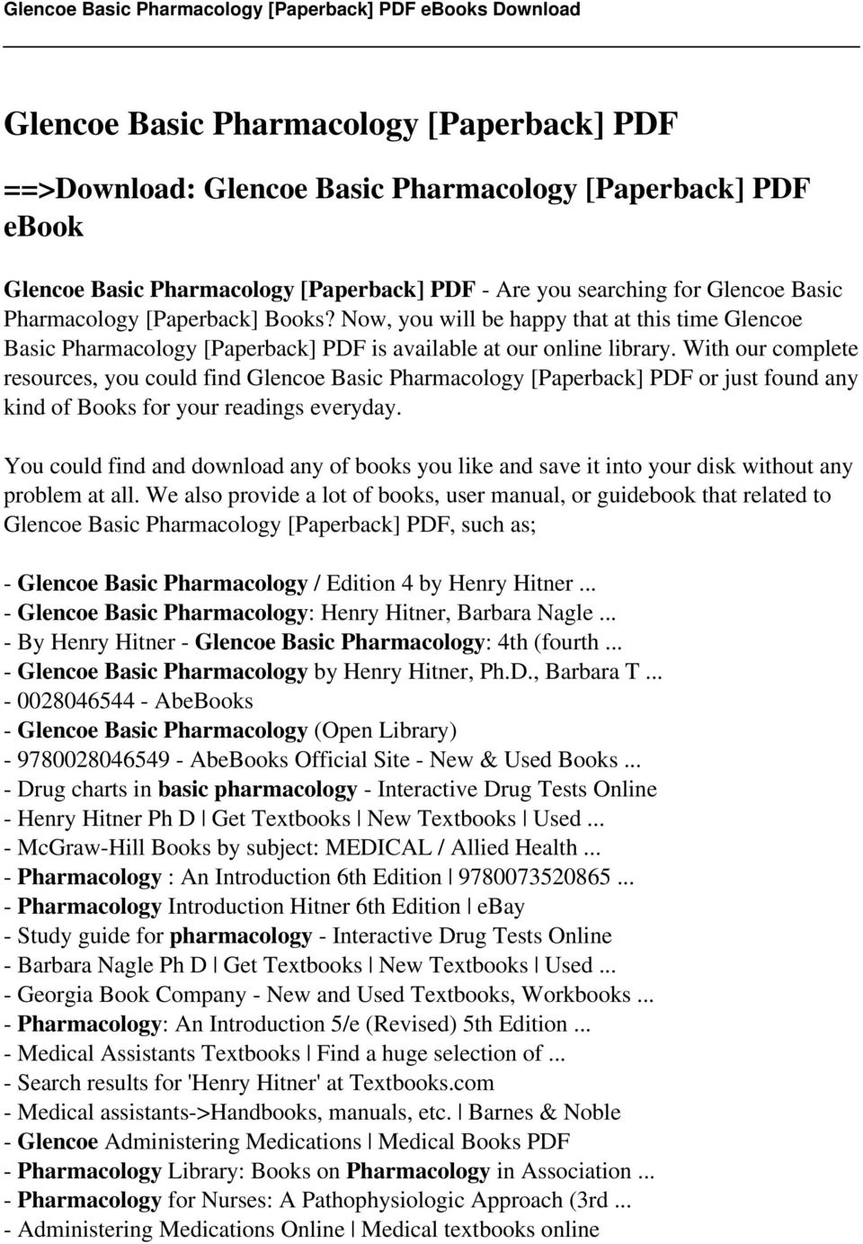 Glencoe basic pharmacology paperback pdf pdf with our complete resources you could find glencoe basic pharmacology paperback pdf or fandeluxe Gallery