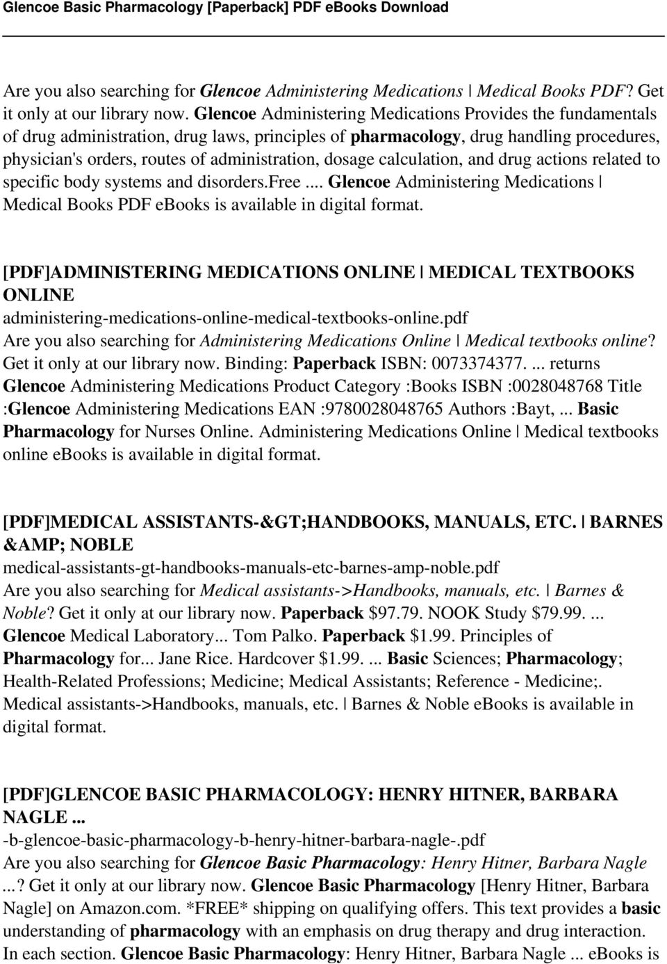 Glencoe basic pharmacology paperback pdf pdf dosage calculation and drug actions related to specific body systems and disordersee fandeluxe Choice Image