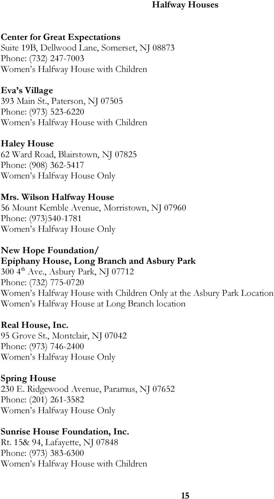 Wilson Halfway House 56 Mount Kemble Avenue, Morristown, NJ 07960 Phone: (973)540-1781 Women s Halfway House Only New Hope Foundation/ Epiphany House, Long Branch and Asbury Park 300 4 th Ave.