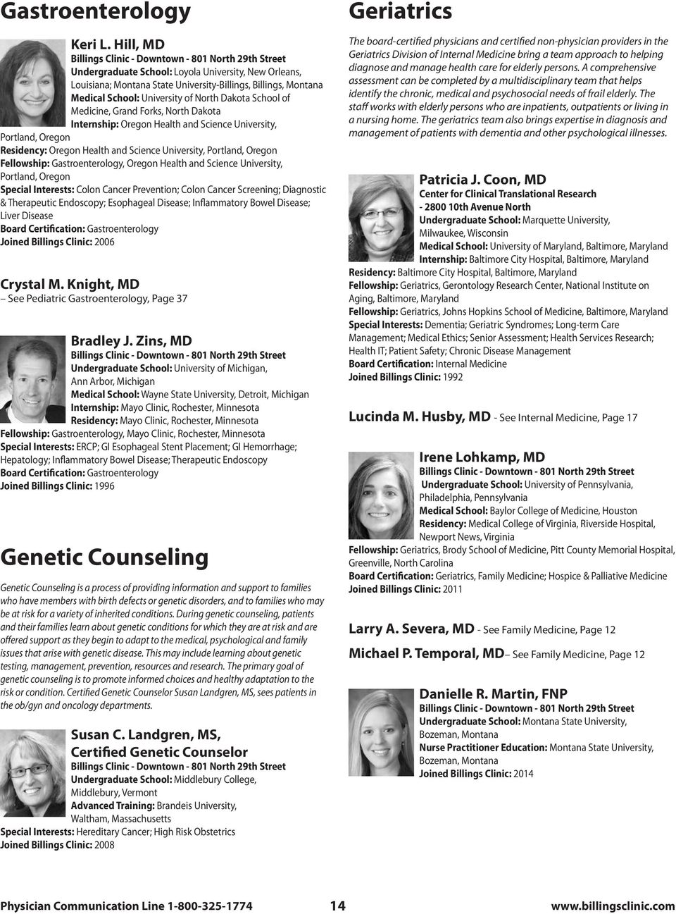 Front cover group photos: Left side, Billings Clinic Vascular