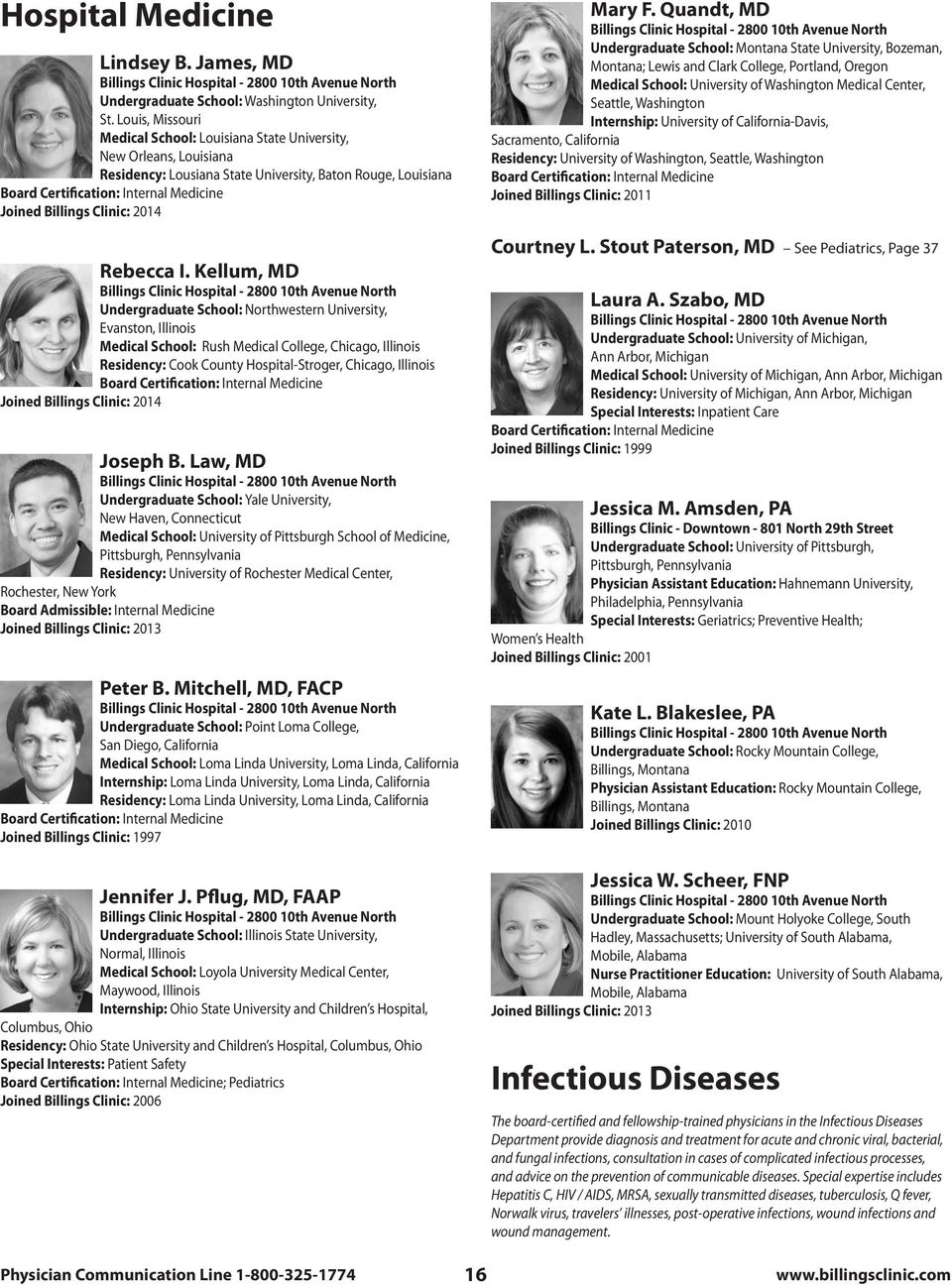 Front cover group photos: Left side, Billings Clinic