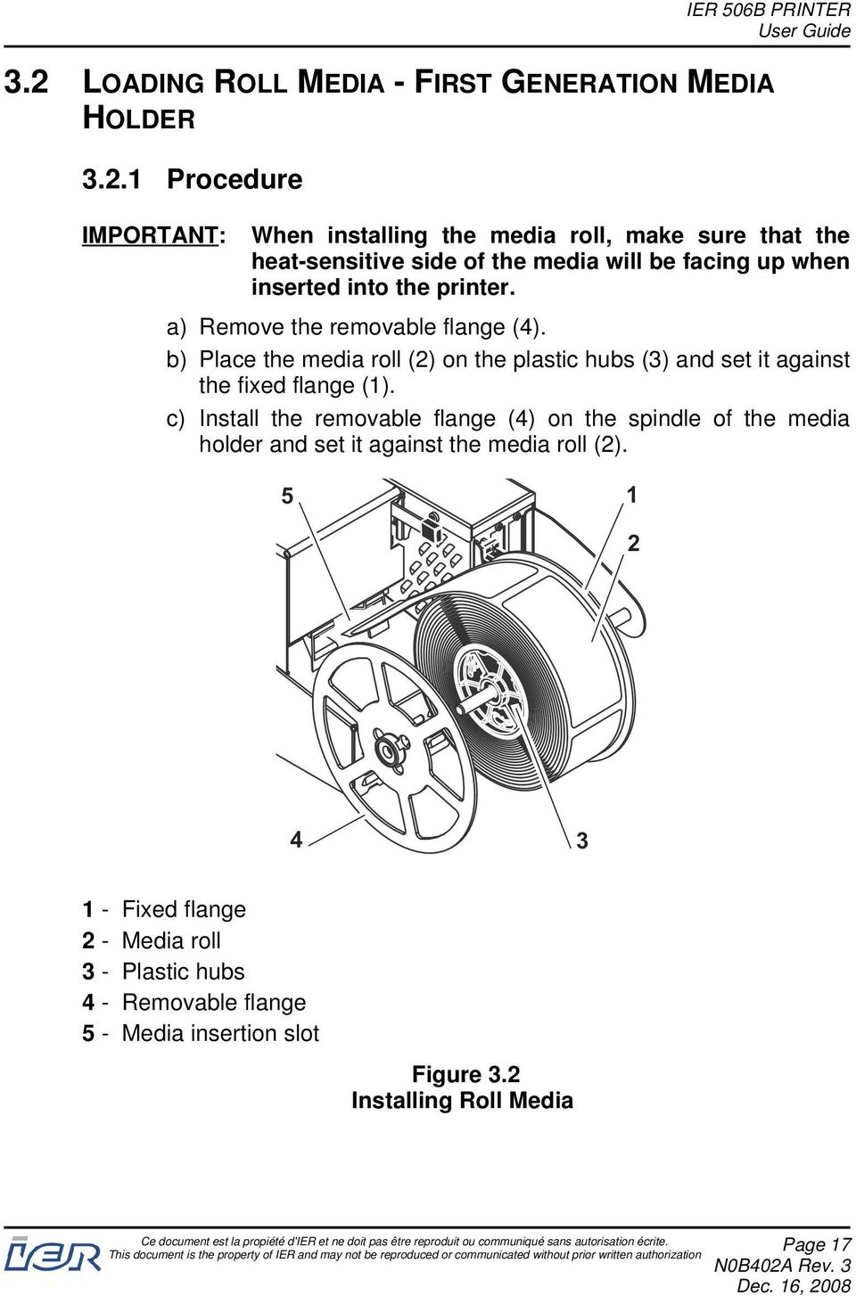 b) Place the media roll (2) on the plastic hubs (3) and set it against the fixed flange (1).