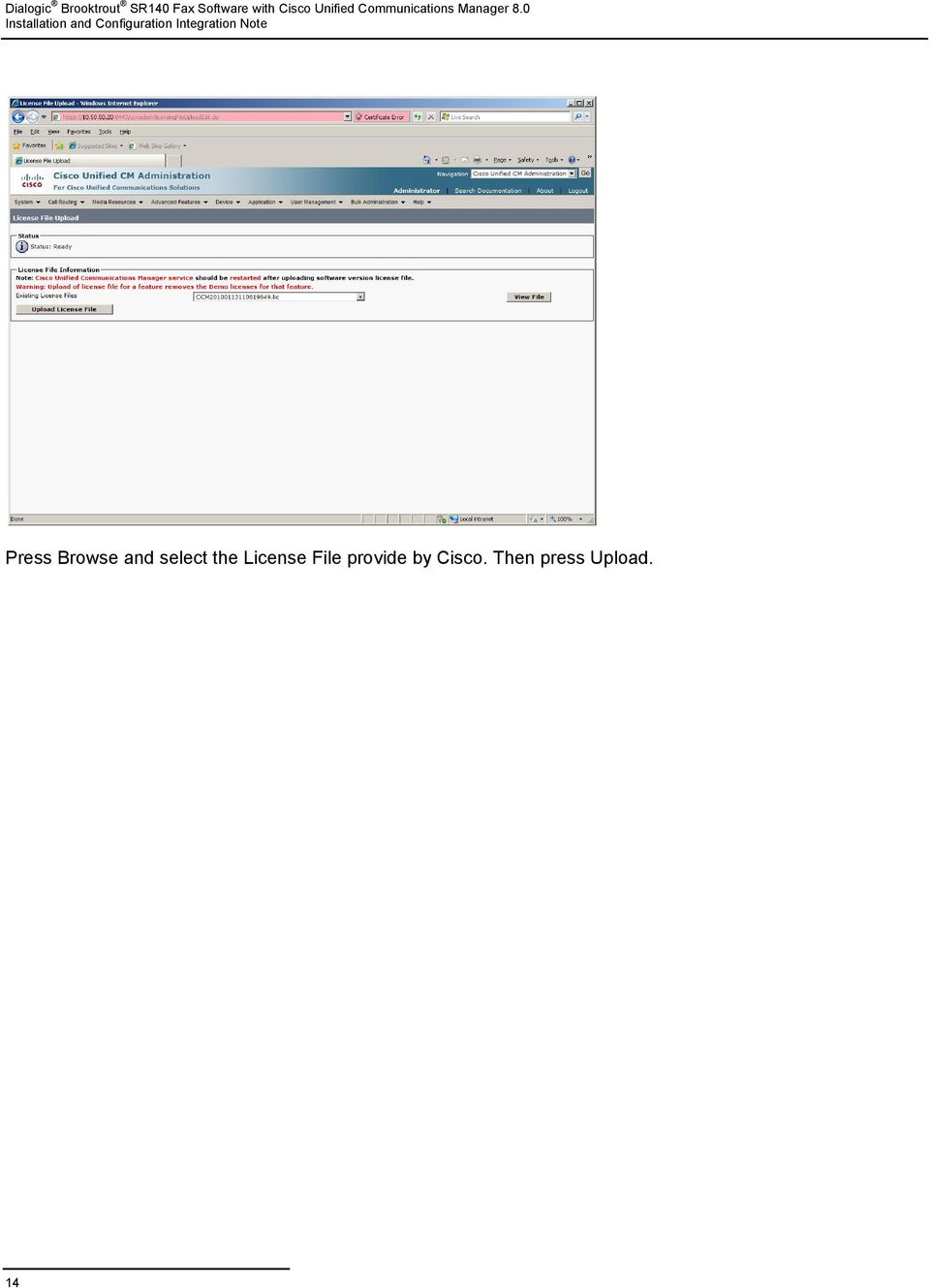 IMPORTANT NOTE  Dialogic Brooktrout SR140 Fax Software with Cisco