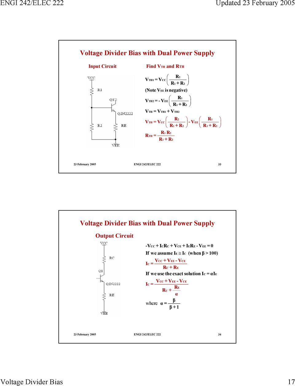 Voltage Divider Bias Pdf Circuit Of Bjt With Dual Power Supply Output V Cc Icr C Ce