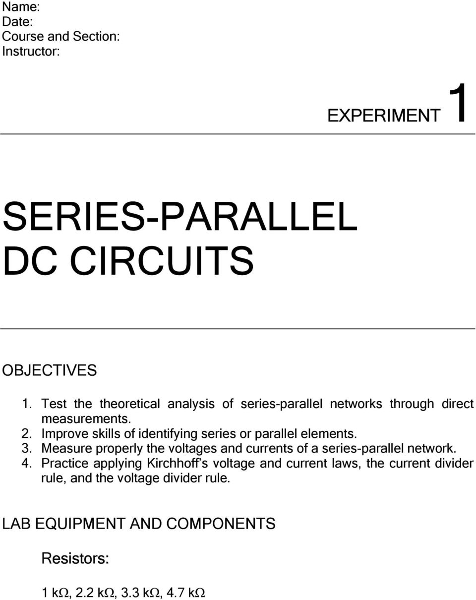 Series Parallel Dc Circuits Pdf Dccircuit Improve Skills Of Identifying Or Elements 3