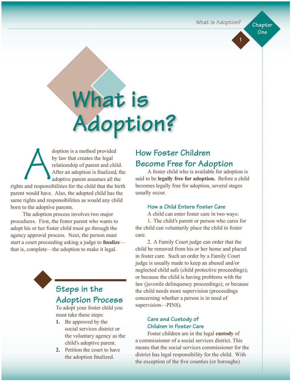 Also, the adopted child has the same rights and responsibilities as would any child born to the adoptive parents. The adoption process involves two major procedures.