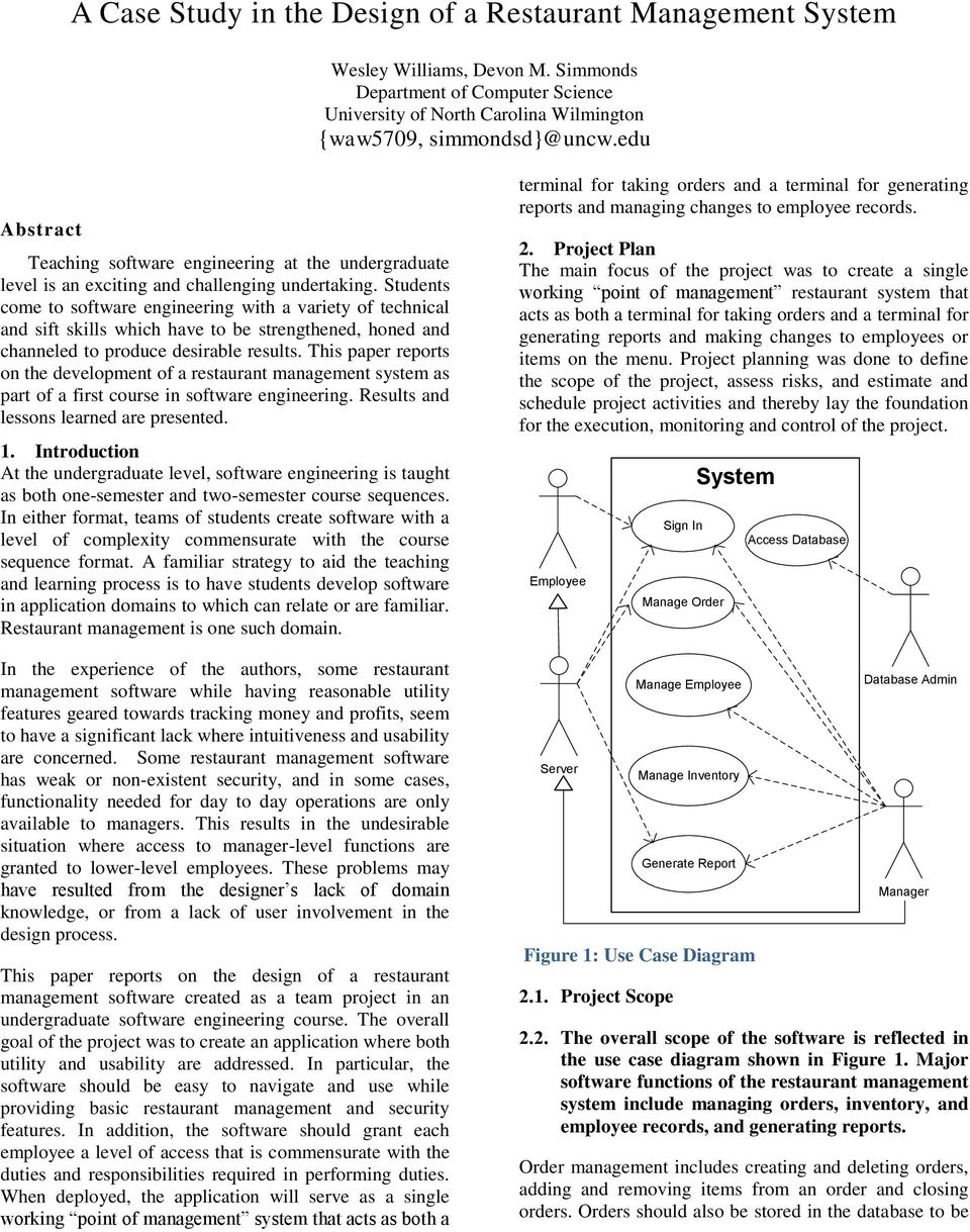 A Case Study in the Design of a Restaurant Management System - PDF
