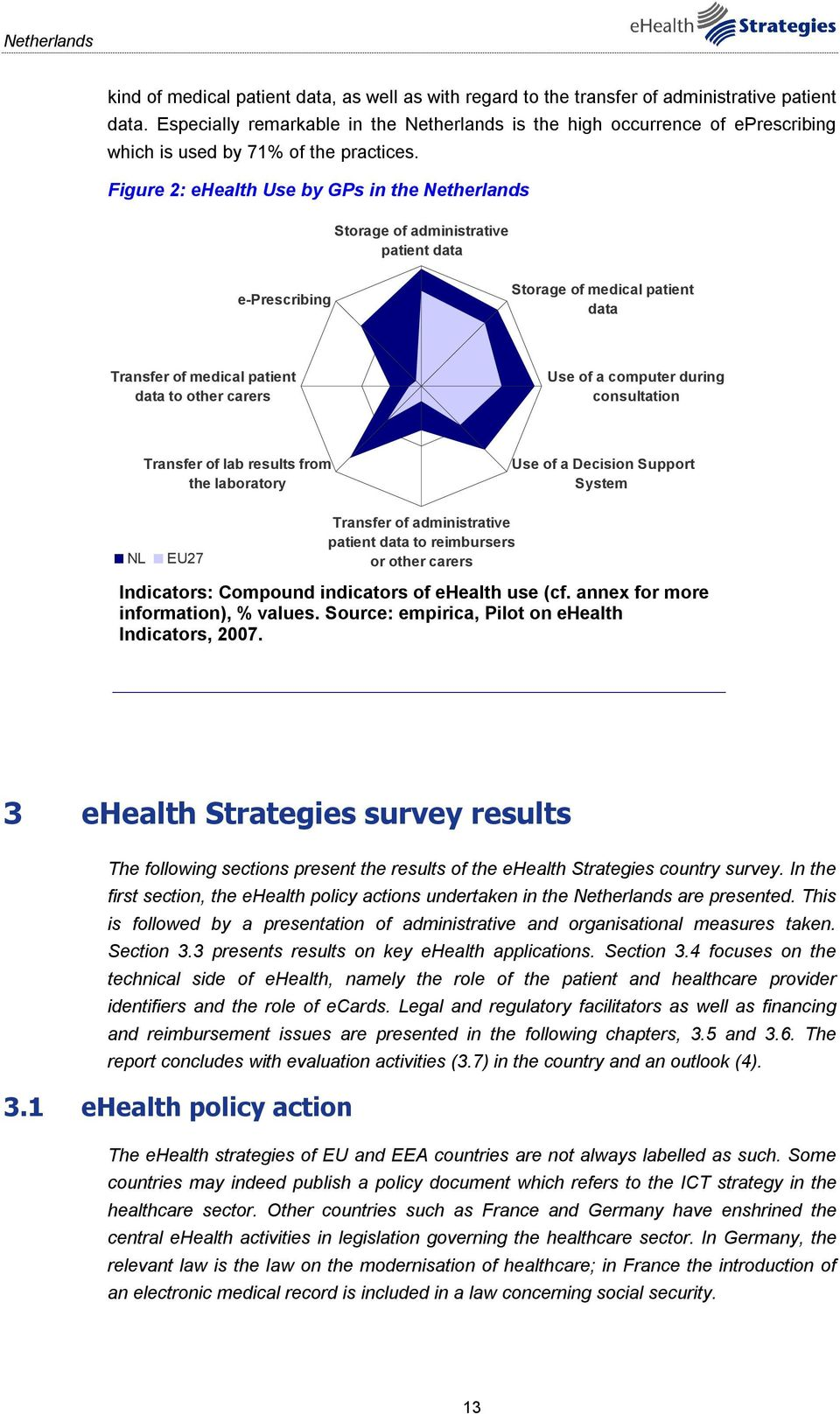 Figure 2: ehealth Use by GPs in the Netherlands Storage of administrative patient data e-prescribing Storage of medical patient data Transfer of medical patient data to other carers Use of a computer