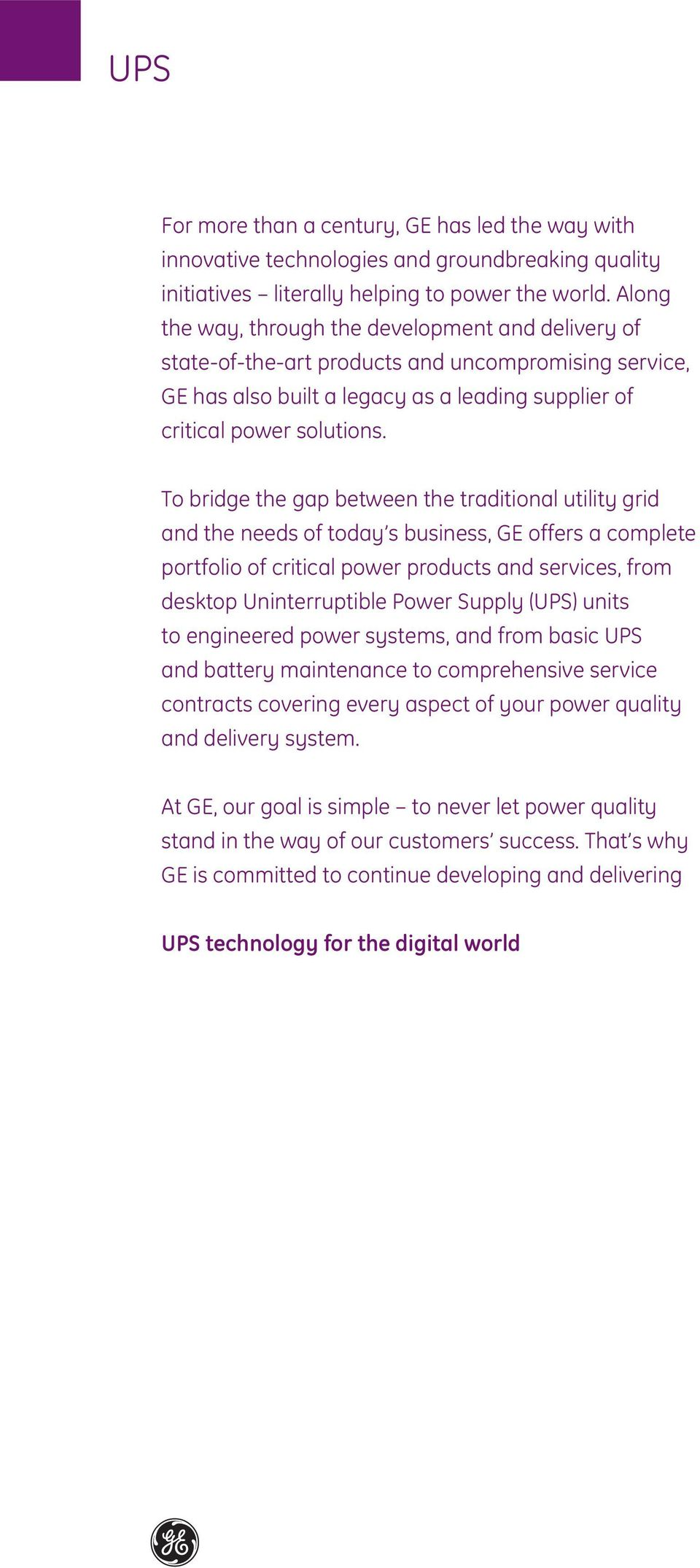 GE Consumer & Industrial Power Protection UPS