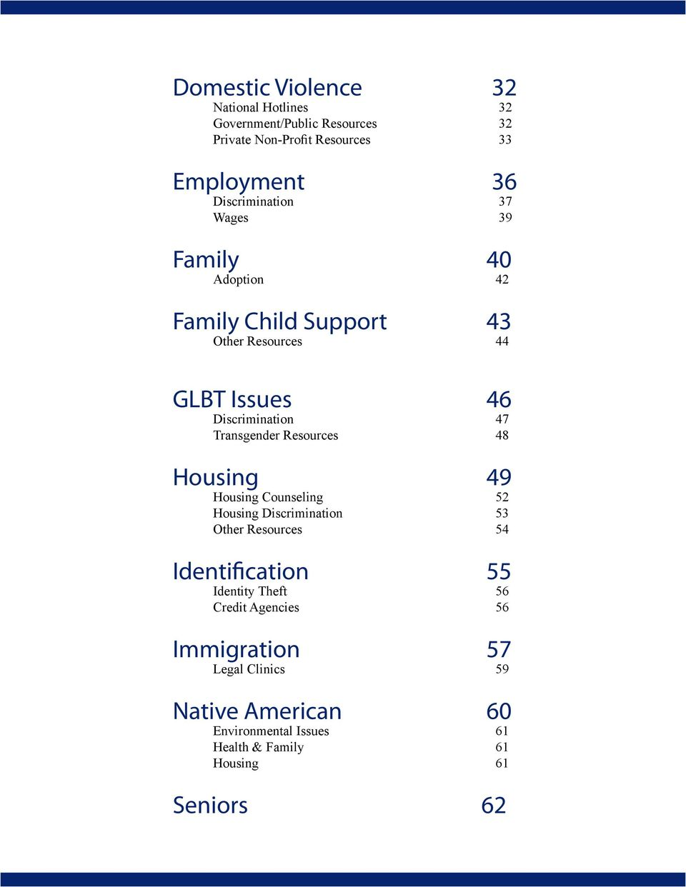 Transgender Resources 48 Housing 49 Housing Counseling 52 Housing Discrimination 53 Other Resources 54 Identification 55 Identity