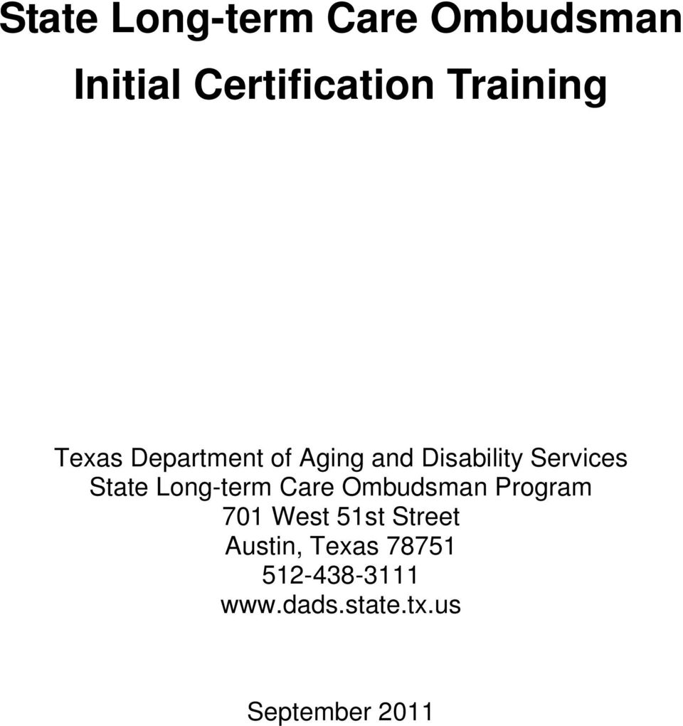 State Long Term Care Ombudsman Initial Certification Training Pdf