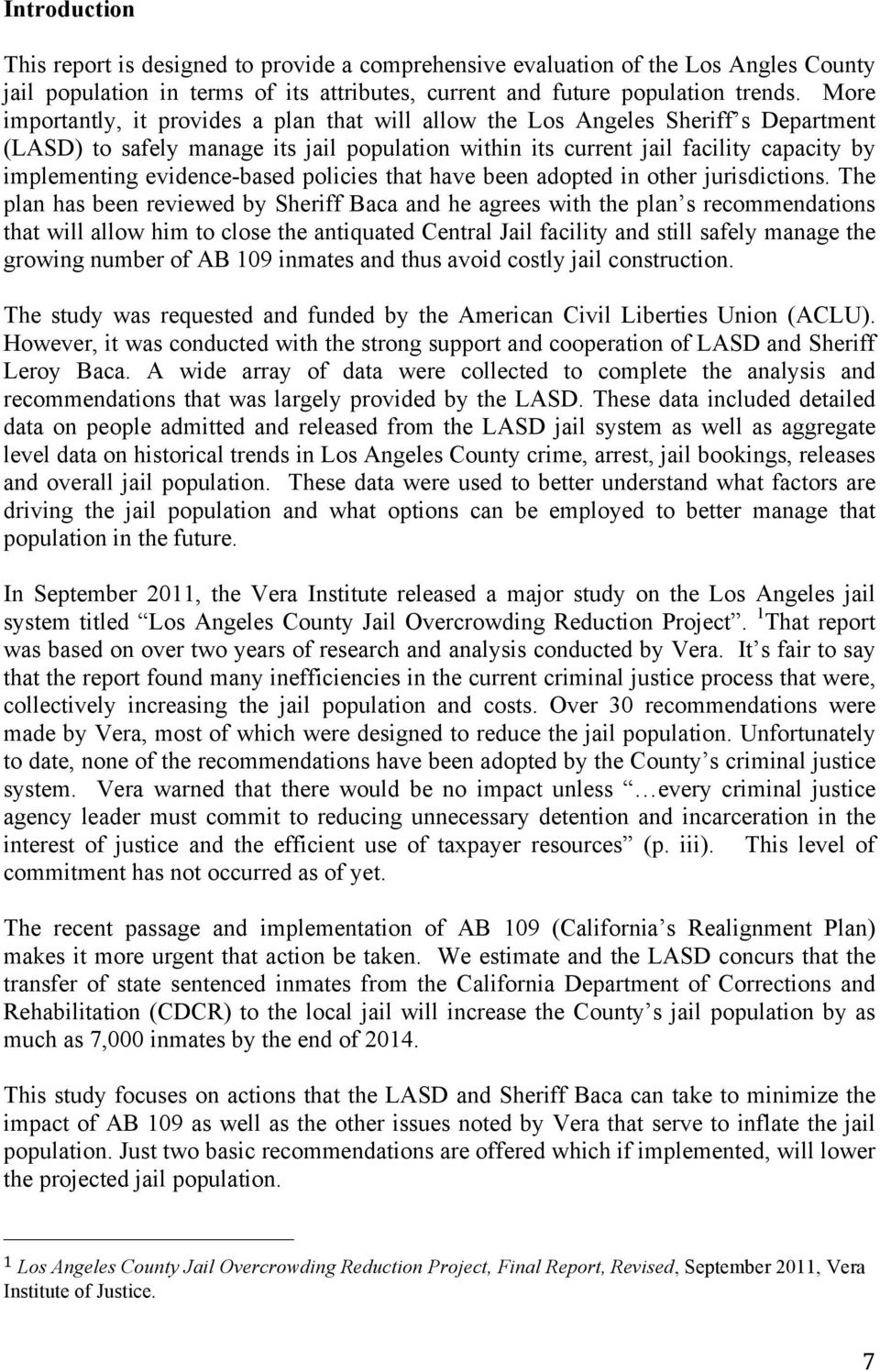 Evaluation of the Current and Future Los Angeles County Jail