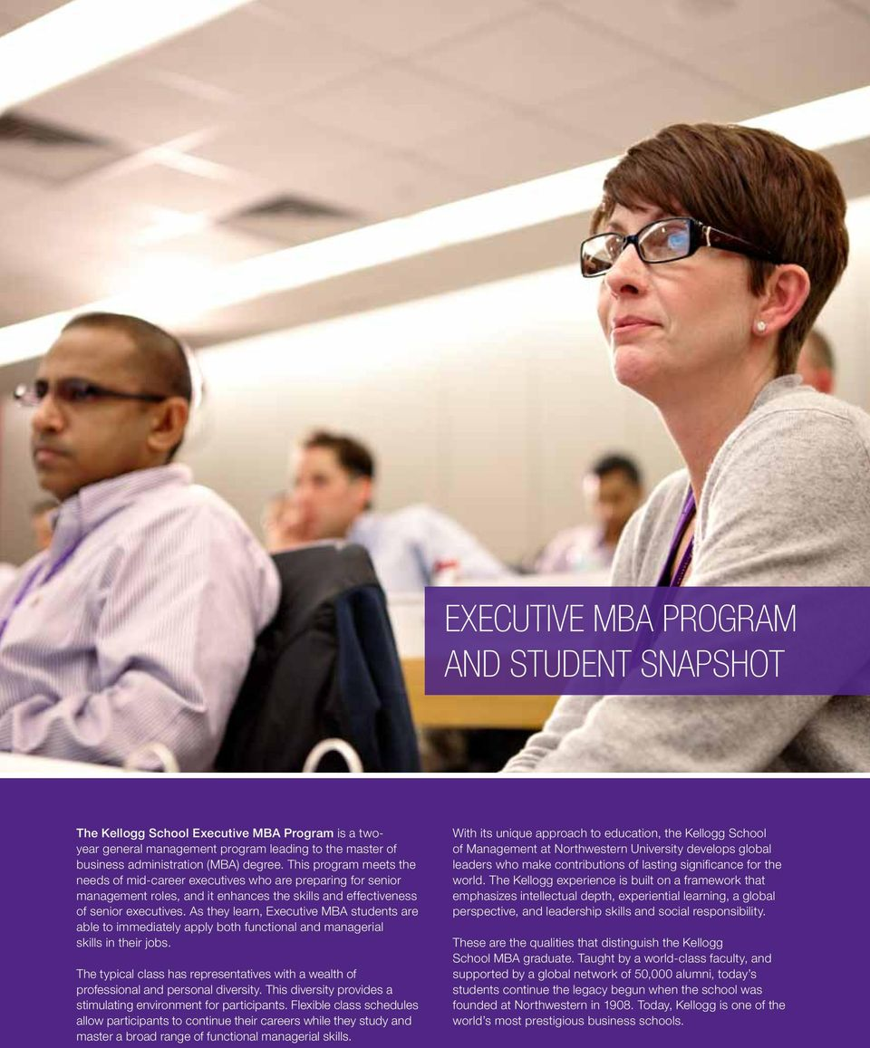 As they learn, Executive MBA students are able to immediately apply both functional and managerial skills in their jobs.