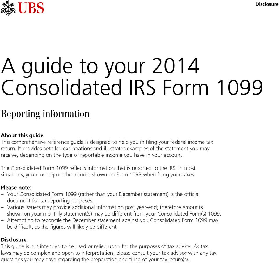 A guide to your 2014 Consolidated IRS Form PDF