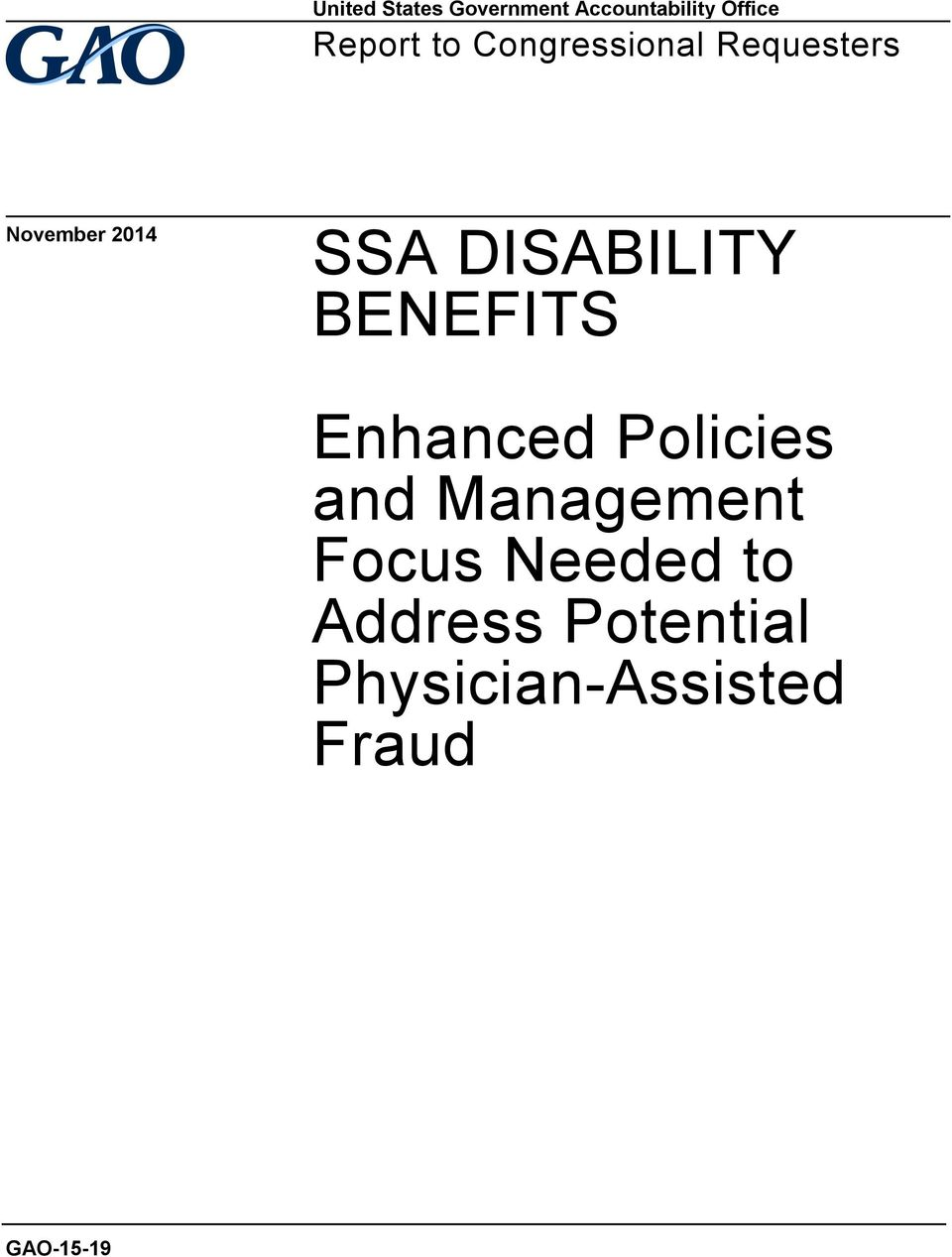 DISABILITY BENEFITS Enhanced Policies and Management